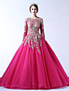 Formal Evening Dress - Vintage Inspired Ball Gown Jewel Court Train Lace Tulle Polyester withBeading Flower(s) Lace Pearl Detailing
