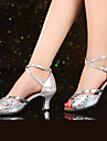 Chaussures de danse(Argent Or Nu) -Non Personnalisables-Talon Cubain-Cuir Verni Paillette Brillante Synthetique-Latines