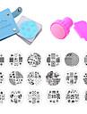 18pcs ongles estampage plaques pochoirs a ongles pour le cas de clous 5,7 disque ensemble modele racleur stamp nail art kits