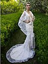 LAN TING BRIDE Trompeta / Sirena Vestido de novia - Moderno y Chic Espalda Abierta Corte Cuello en V Encaje con Flor Lentejuela