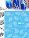 5pcs Black Lace Stickers +5pcs White Lace Stickers Autocollant d\'art de clou Autocollants de transfert de l\'eau Autocollant dentelle