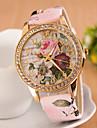 pentru Doamne Ceas Elegant Ceas La Modă Ceas de Mână Simulat Diamant Ceas Quartz imitație de diamant PU Bandă Flori Pink Alb Rosu Roz