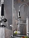 Contemporain Pull-out / Pull-down Vasque Douchette inclue Pivotant Douche Avec spray demontable with  Soupape ceramique Mitigeur un trou