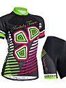 Nuckily Cykeltröja med shorts Dam Kort ärm Cykel Tröja Shorts KlädessetVattentät UV-Resistent Fuktgenomtränglighet Vattentät dragkedja