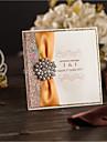 Pliat lateral Invitatii de nunta Invitații Stil Clasic Hârtie Perlă Fundă panglică Ștrasuri