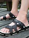 Bărbați Sandale Vară Pantof cu Berete PU Casual Toc Gros Negru Albastru Închis Gri