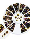 1st mode blandad storlek nagelkonst rund skiva glitter lila topas flamma rhinestone lysande harts gelé rhinestone dekoration för nagel