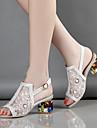 Femme-Mariage Habille Soiree & Evenement--Gros Talon-Confort Nouveaute club de Chaussures-Sandales-Tulle Microfibre