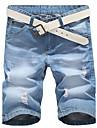 Bărbați Zvelt Simplu Talie Medie Blugi Pantaloni Scurți Pantaloni Solid