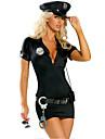 Costumes de Cosplay Costume de Soiree Policier/Policiere Fete / Celebration Deguisement d\'Halloween Noir Couleur PleineRobe Ceinture