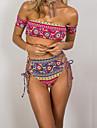 Femei Bikini Femei Bustieră Talie Înaltă Monocolor Floral Polyester