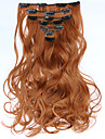 7pcs/Set 130g  Medium Auburn Wavy 50cm Hair Extension Clip In Synthetic Hair Extensions