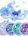 2g*4 Boxes Fluorescent Nail Flakies Glass Paper Irregular Paillette Nail Art Glitter Sequins Flakes