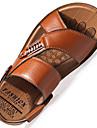 Bărbați Papuci & Flip-flops Primăvară Vară Confortabili Tălpi cu Lumini Piele Outdoor Birou & Carieră Casual Toc Plat Ținte CataramăNegru