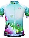 JESOCYCLING Maillot de Cyclisme Femme Manches courtes VeloSechage rapide Respirable Materiaux Legers Poche arriere Anti-transpiration