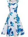 Damă Casul/Zilnic Plajă Nuntă Vintage Teacă Swing Rochie-Floral Fără manșon În V Lungime Genunchi Bumbac Poliester Vară Talie Inaltă