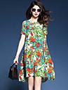 Damă Ieșire Casul/Zilnic Plus Size Simplu(ă) Larg Rochie-Floral Bloc Culoare Manșon scurt Rotund Lungime Genunchi Celofibră Poliester Vară