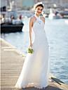 LAN TING BRIDE Linha A Vestido de casamento Renda Floral Cauda Escova Nadador Renda com Renda