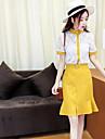 Damă Stil Nautic Bluză Fustă Costume Ieșire Casul/Zilnic Concediu Vintage Draguț Șic Stradă,Mată Manșon Scurt Vara
