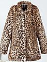 Damă Stand Palton Piele Casul/Zilnic Simplu,Leopard Manșon Lung Toamnă Iarnă-Lung Altele