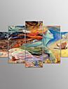Impression sur Toile Abstrait,Cinq Panneaux Toile Format Horizontal Imprime Decoration murale For Decoration d\'interieur