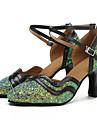 """Damă Modern Paillertte Imitație de Piele Sandale Călcâi Profesional Sequin Cataramă Despicare Toc Personalizat Alb Verde1"""" - 1 3/4"""" 2"""" -"""