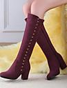 Femme Chaussures Polyurethane Automne Hiver Confort Bottes Talon Compense Bout rond Avec Pour Decontracte Noir Bleu Bourgogne