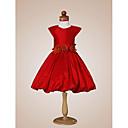 Lanting nevjesta A-kroj / Krinolina / Princeza Do koljena Haljina za djevojčicu s cvijećem - Taft Kratkih rukava Ovalni izrez sDrapirano