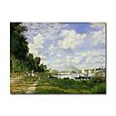 手描き 油絵 アルジャントゥイユの流域 クロード·モネ 中枠付き HB-946