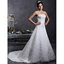 Lanting Bride® A-kroj / Princeza Sitna / Veći brojevi Vjenčanica - Klasično i svevremensko / Elegantno i luksuzno Čipkasti izgledSrednji