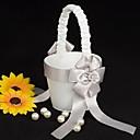 květinářka koš v bílém saténu s faux zvonění
