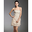 TS Couture Cocktail Party Holiday Dress - Short Sheath / Column Strapless Short / Mini Lace Organza with Beading Lace