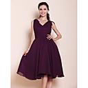 Lanting Bride® Ke kolenům Šifón Šaty pro družičky - A-Linie / Princess Do V Větší velikosti / Malé s Mašle / Nabírání / Sklady