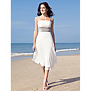 Lanting Bride® Sheath / Column Petite / Plus Sizes Wedding Dress - Chic & Modern / Reception Little White Dresses Tea-lengthSpaghetti