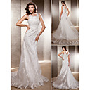 Lanting Bride Trumpet/Mermaid Petite / Plus Sizes Wedding Dress-Sweep/Brush Train Scoop Lace / Tulle