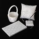 Dijamant rešetkasti uzorak bijelog satena vjenčanja skup set (4 komada postavljena)