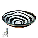 Moderní T12mmxΦ420xH145 Kulatý dřez Materiál je Tvrzené sklo Montážní kroužek do koupelny / Kuchyňský odtok vody