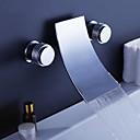 現代風 壁式 滝状吐水タイプ with  セラミックバルブ 二つのハンドル三穴 for  クロム , 浴槽用水栓