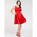 Lanting Bride® Ke kolenům Elastický satén Šaty pro družičky - A-Linie / Princess Klenot Větší velikosti / Malé s Boční řasení