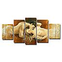 Ručně malované Lidé / Akt Pět panelů Plátno Hang-malované olejomalba For Home dekorace
