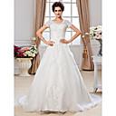 Lanting Bride® A-kroj Sitna / Veći brojevi Vjenčanica - Klasično i svevremensko Dugi šlep Niska ramena Organza s