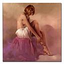 Handgeschilderde Mensen / Naakt Eén paneel Canvas Hang-geschilderd olieverfschilderij For Huisdecoratie