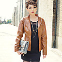 Long Sleeve Standing Collar Casual PU Jacket(More Colors)