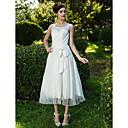 Lan Ting A-line/Princess Plus Sizes Wedding Dress - Ivory Tea-length Scoop Lace/Organza
