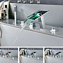 Contemporary Chrome Finish LED Widespread Changing Bathtub Faucet