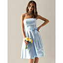 Lanting Bride® Knee-length Satin Bridesmaid Dress A-line Strapless Plus Size / Petite with Bow(s) / Sash / Ribbon