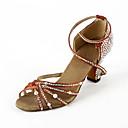 Non Přizpůsobitelné - Dámské - Taneční boty - Latina / Taneční sál - Satén - Rozšířený podpatek - Hnědá