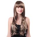 Sin tapa larga gris ondulado sintético de alta calidad japonesa Kanekalon pelucas