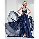 TS Couture® Formal Evening / Military Ball Dress - Dark Navy Plus Sizes / Petite A-line / Princess Halter / Sweetheart Court Train Satin Chiffon