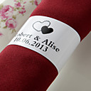 Personalized Paper Napkin Ring - Black Hearts (Set of 50)